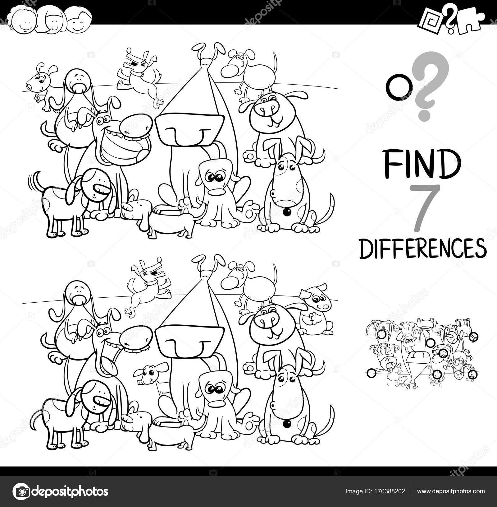 encontrar diferencias con libro para colorear de perros — Archivo ...