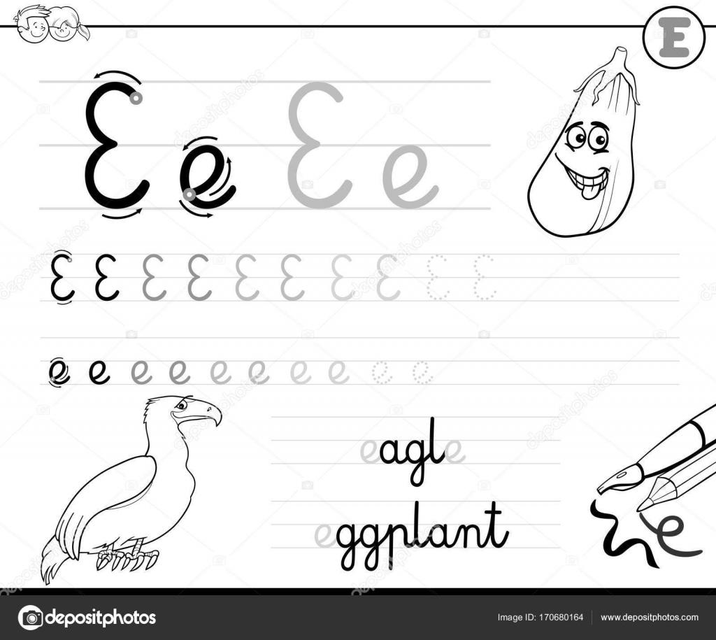 aprender a escribir el libro de la letra E para niños — Vector de ...