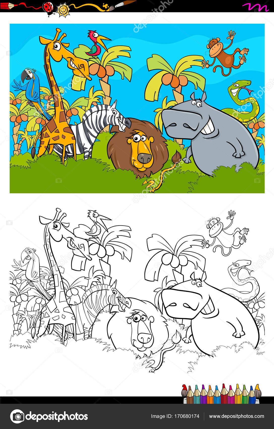 safari animales personajes libro para colorear de dibujos animados ...