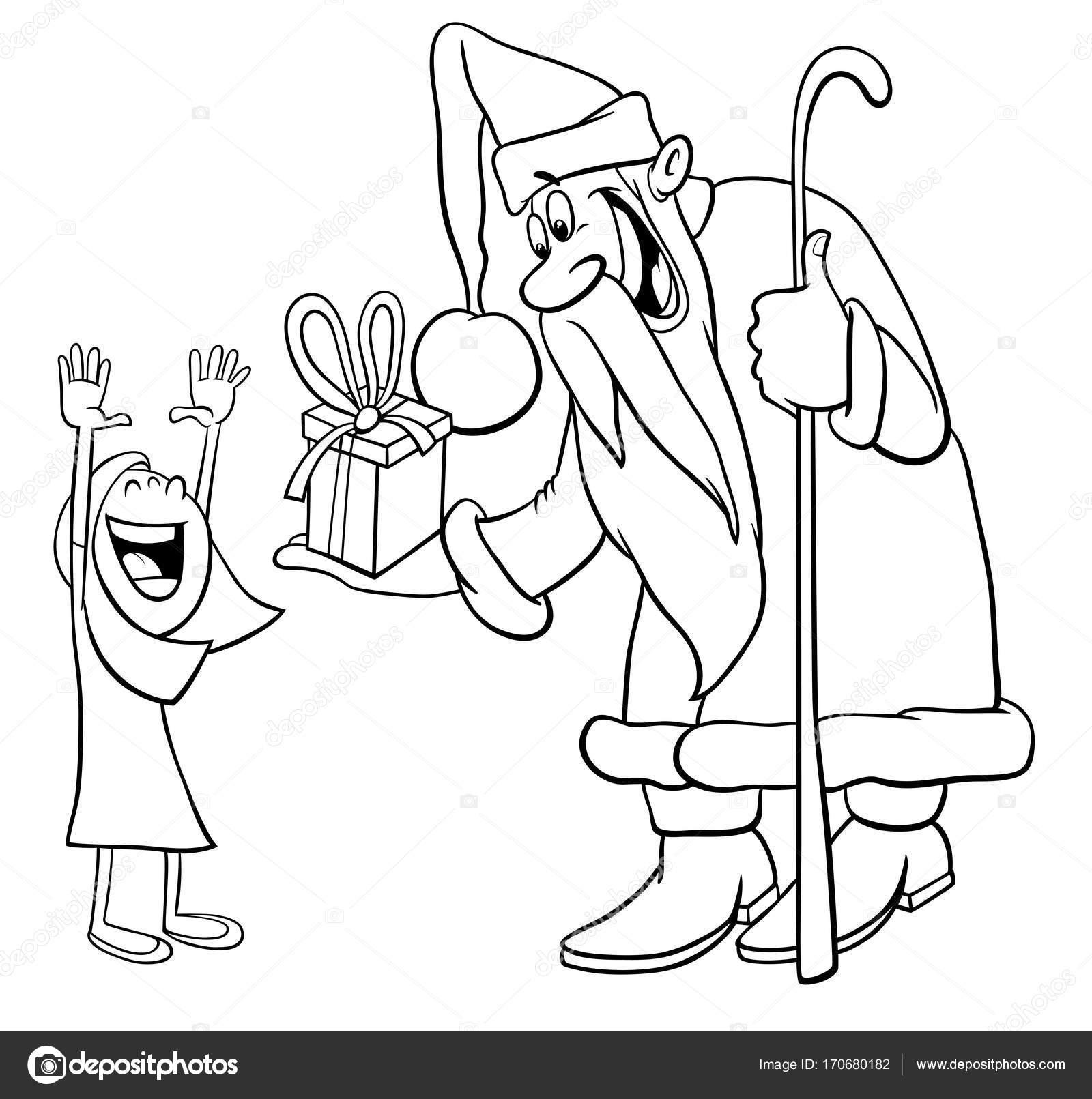 Noel Baba Boyama Sayfası Küçük Kızla Stok Vektör Izakowski
