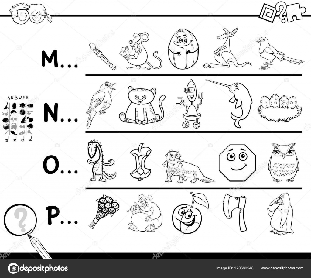 Sayfa çocuklar Için Boyama Bir Sözcüğün Ilk Harfi Stok Vektör