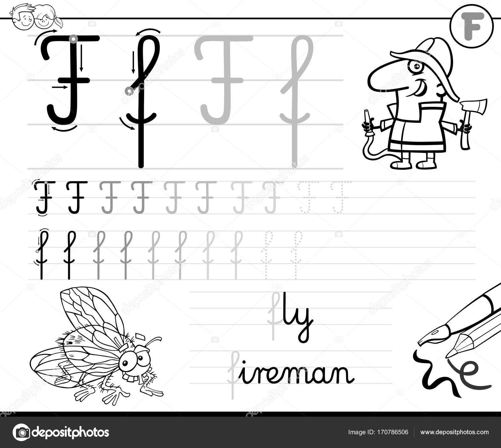 leren schrijven brief F werkmap voor kinderen — Stockvector