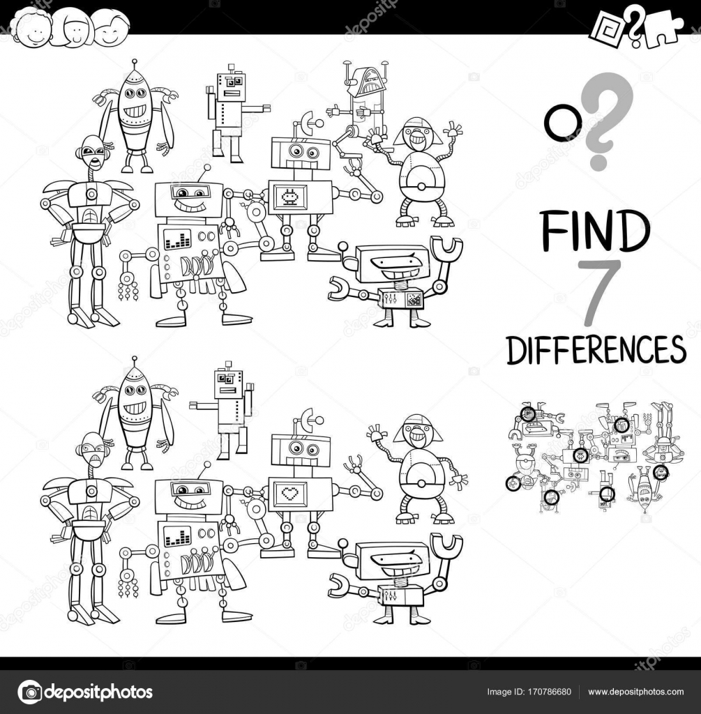 find differences with robots color book — Stock Vector © izakowski ...