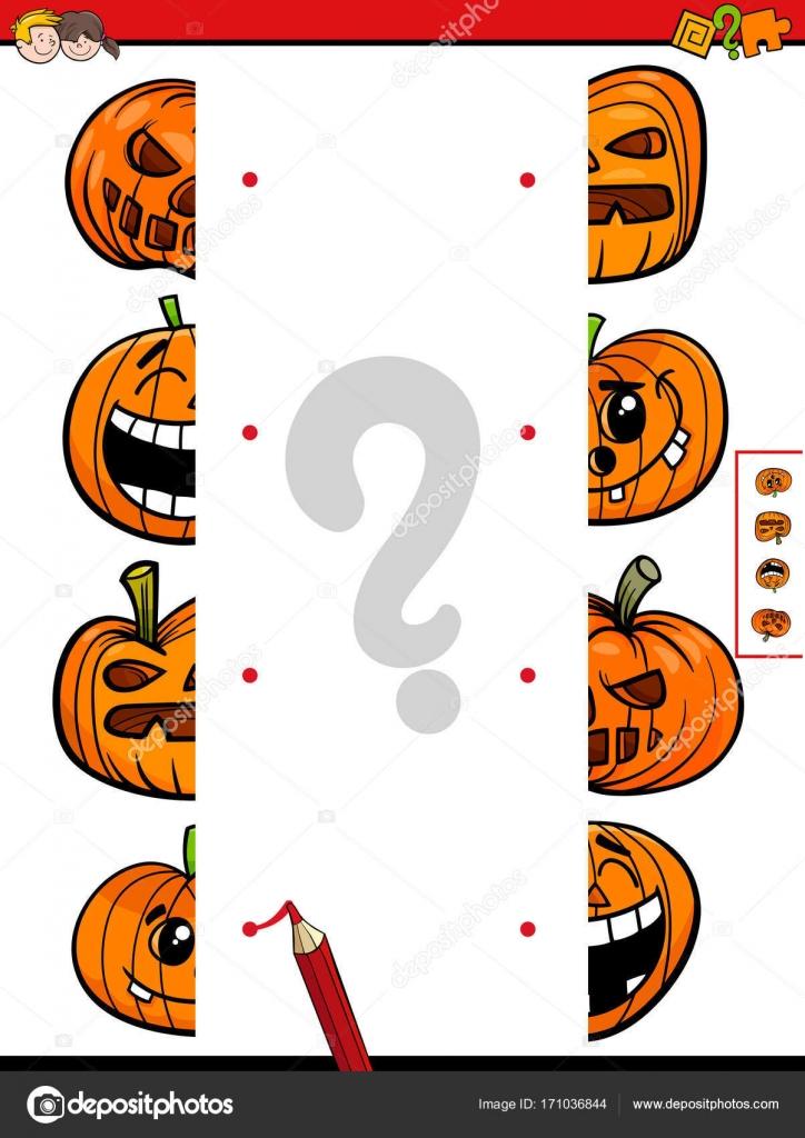 partido juego de mitades de calabazas de halloween — Archivo ...