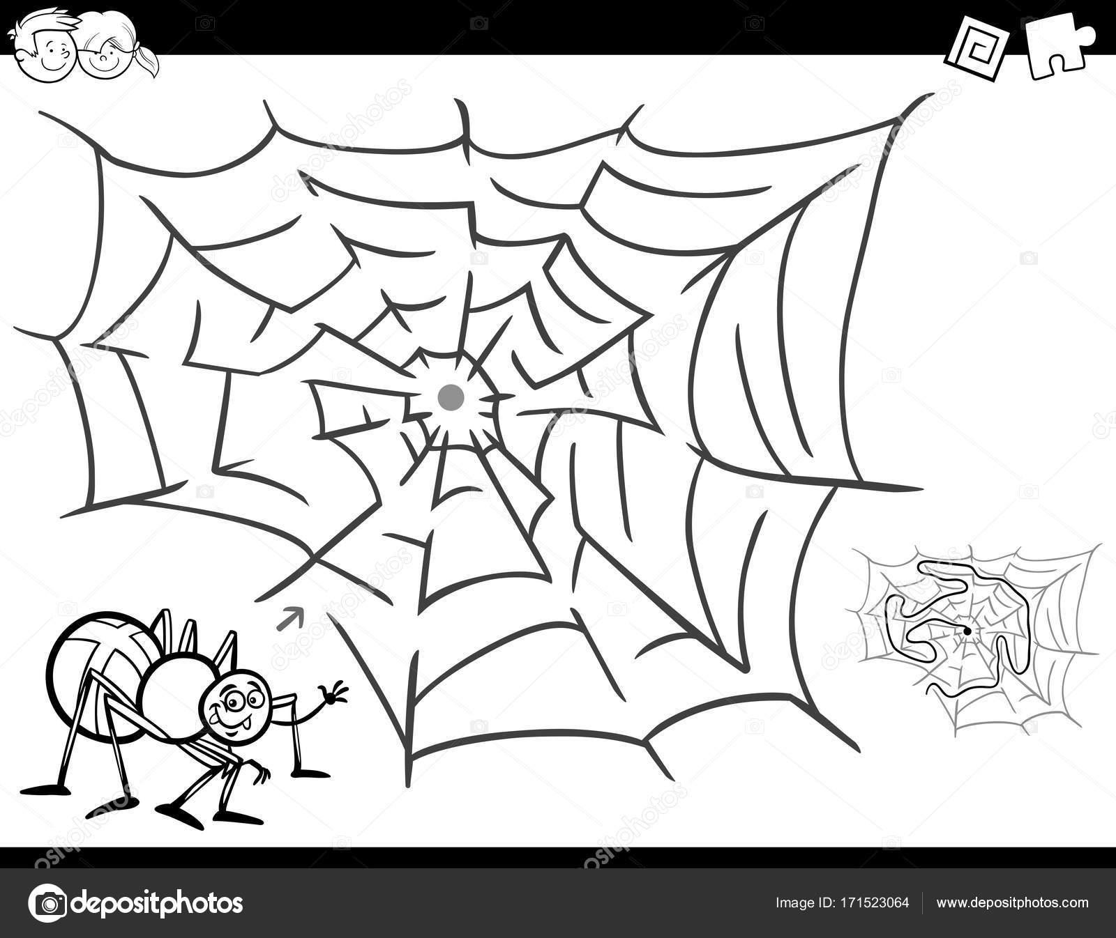 libro de colorear juego de laberinto con araña y web — Vector de ...