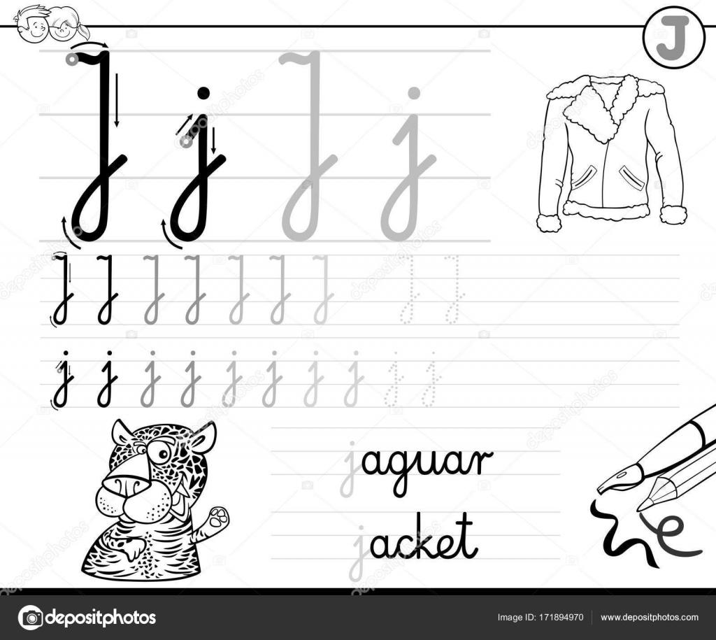 aprender a escribir el libro de la letra J para niños — Vector de ...