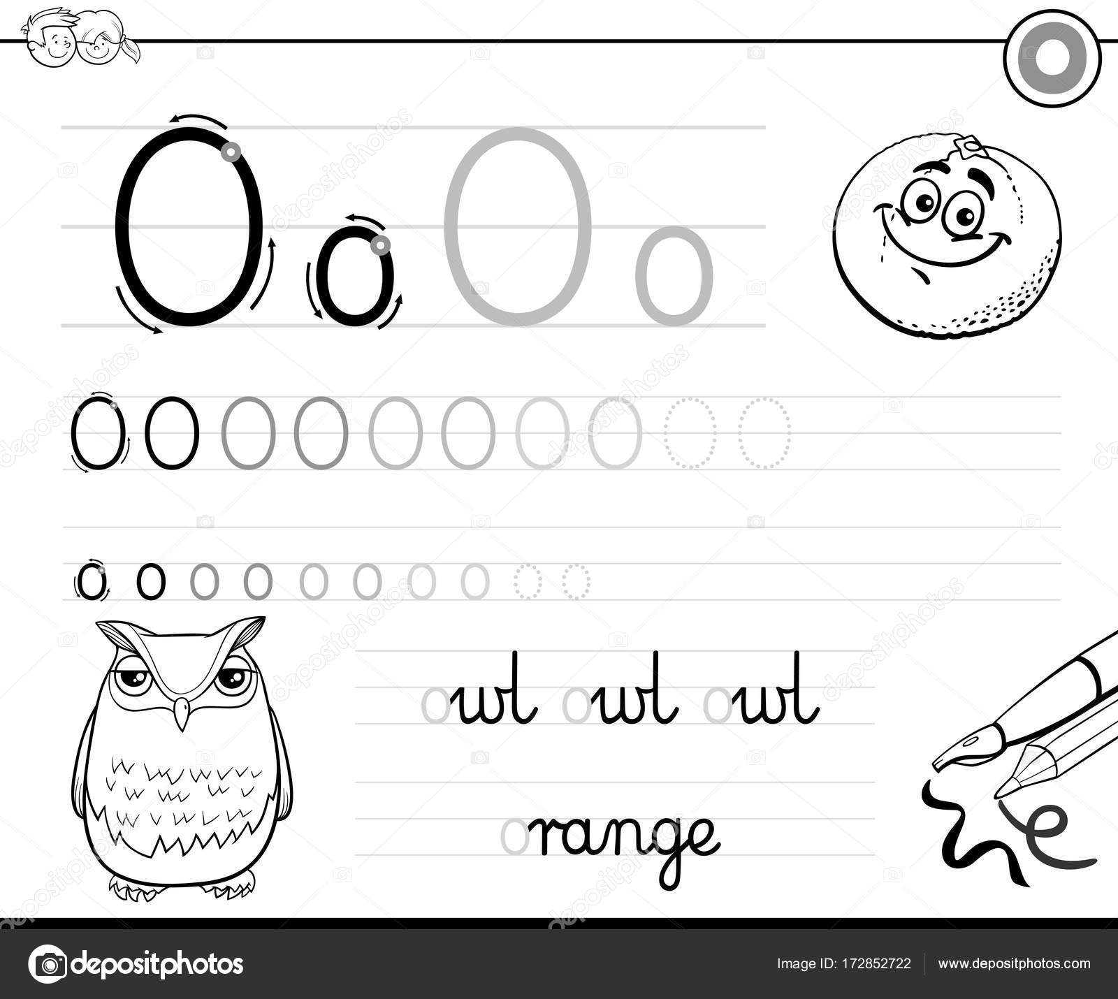 Buchstabe O Arbeitsmappe für Kinder schreiben lernen — Stockvektor ...