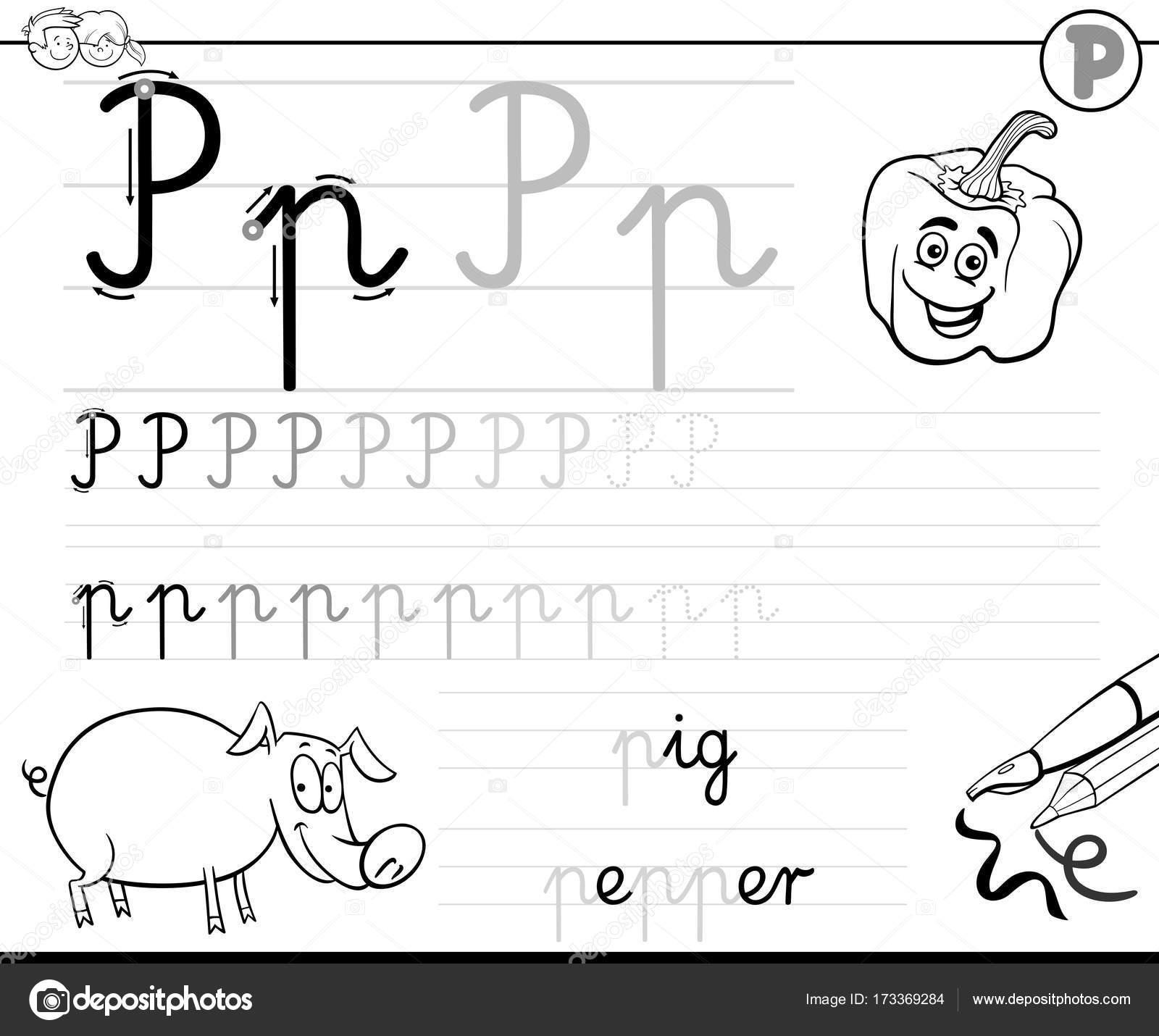 Aprende a escribir libro de letra P para niños — Archivo Imágenes ...