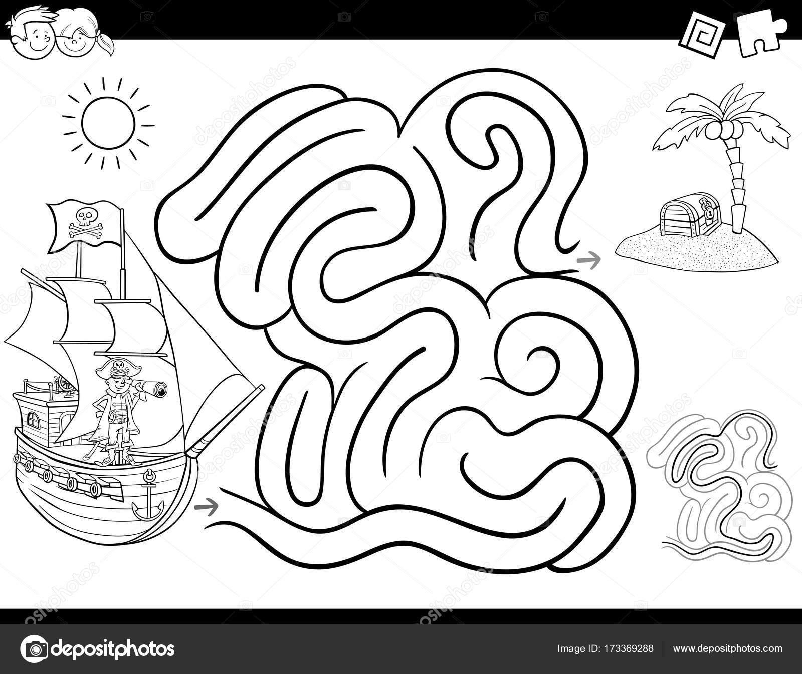 Livre De Coloriage Jeu De Labyrinthe Avec Pirate Image Vectorielle