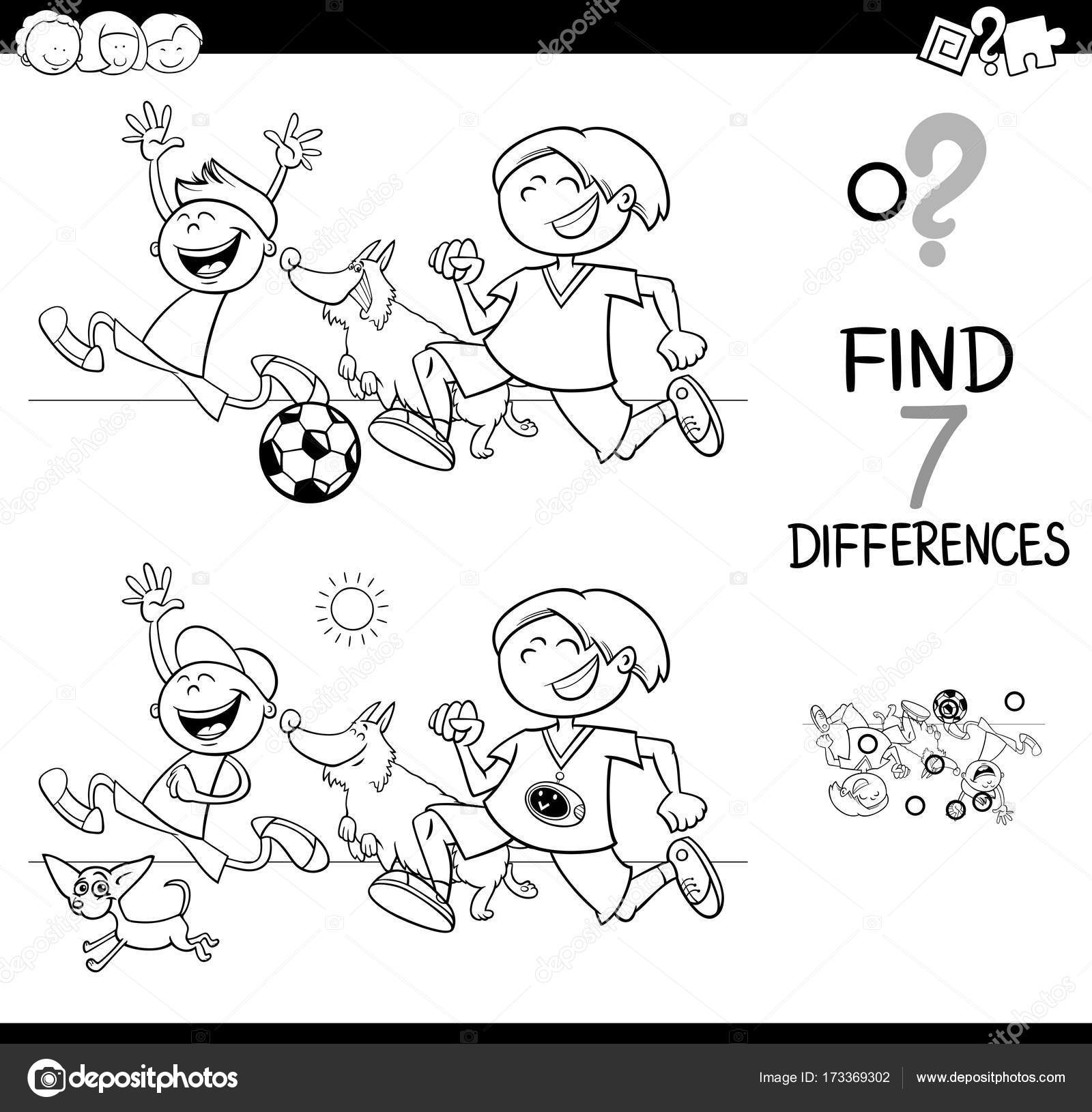 differences game with boys and dogs color book — Stock Vector ...