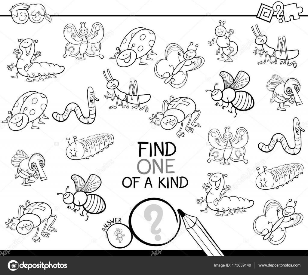 uno de un bueno juego con libro insectos — Vector de stock ...