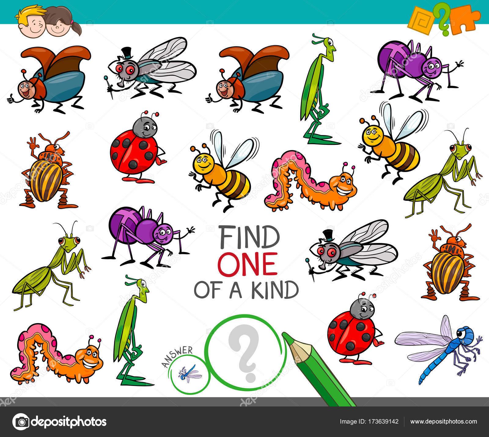 Uno De Un Bueno Juego Con Personajes De Insectos Vector De Stock