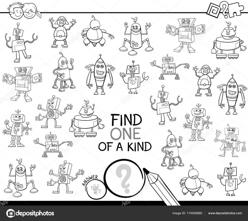 Find One Of A Kind With Robots Color Book Stock Vector Izakowski