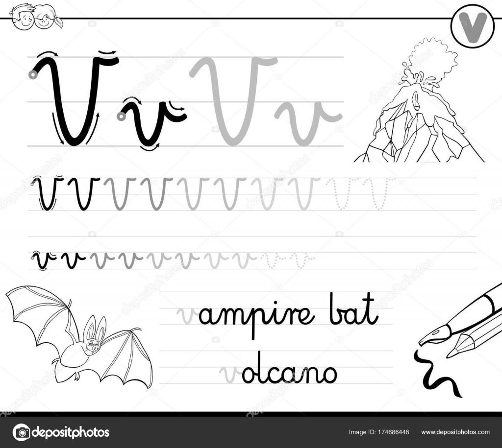 Buchstabe V Arbeitsmappe für Kinder schreiben lernen — Stockvektor ...