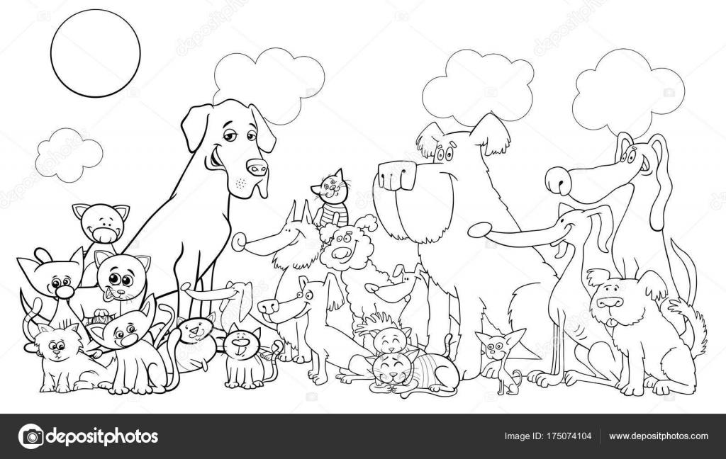 Kleurplaten Honden Katten.Cartoon Grappige Hond En Katten Kleurplaten Boek Stockvector