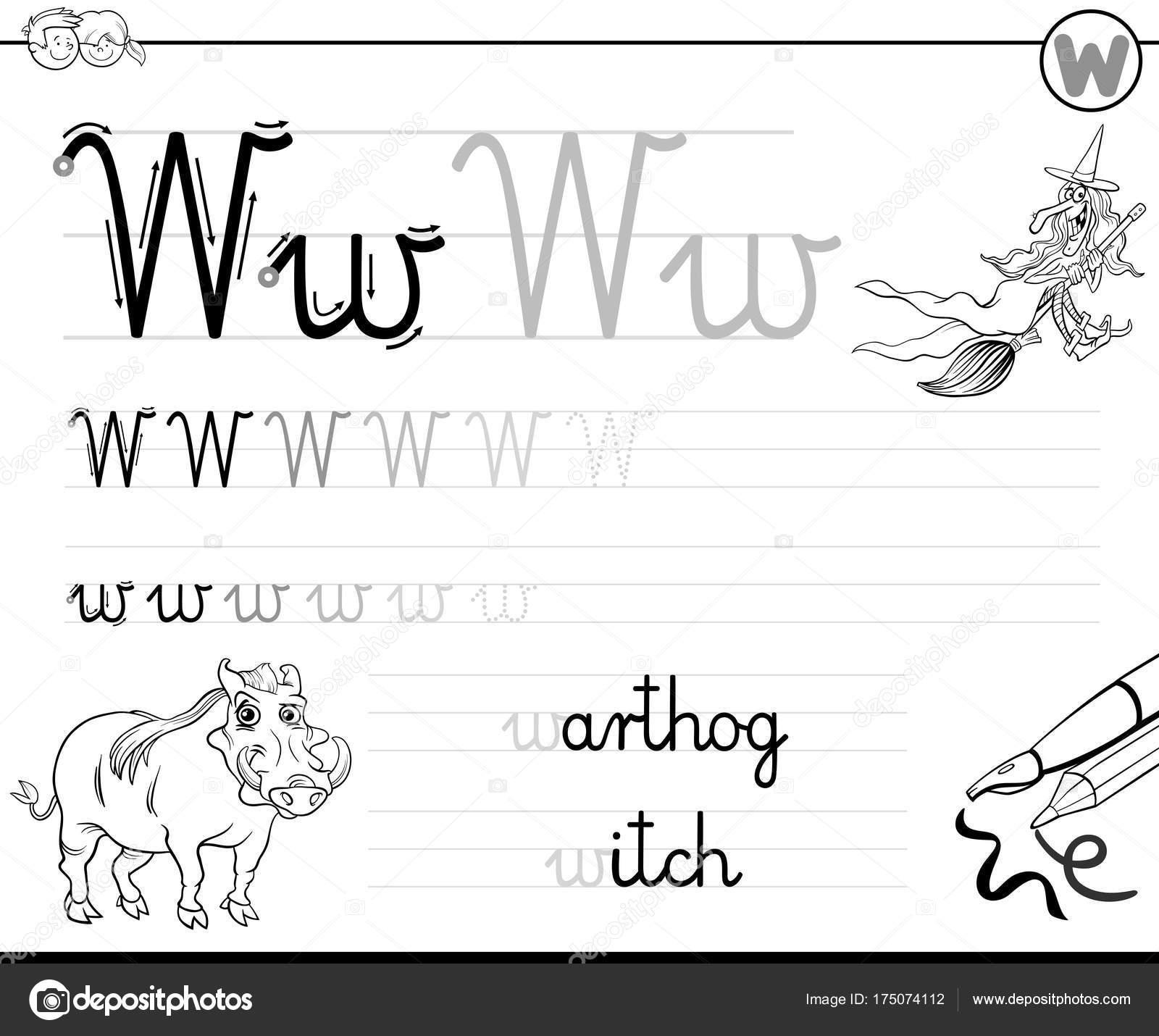 Buchstabe W Arbeitsmappe für Kinder schreiben lernen — Stockvektor ...