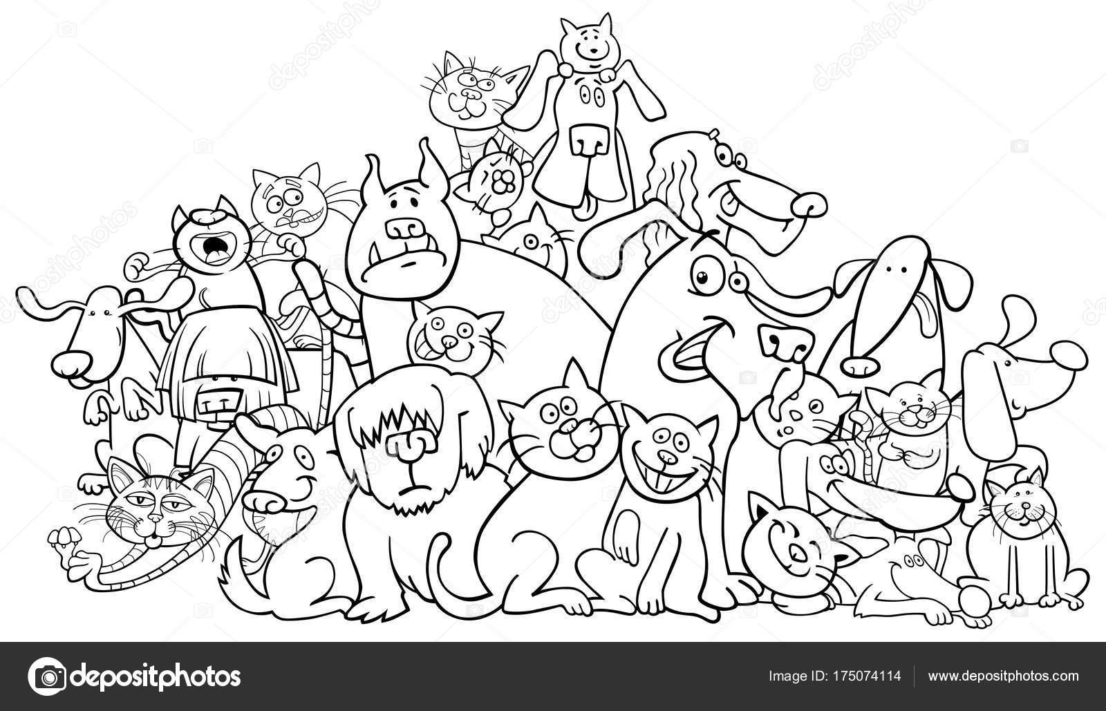 dibujos animados de perros y gatos para colorear libro — Archivo ...