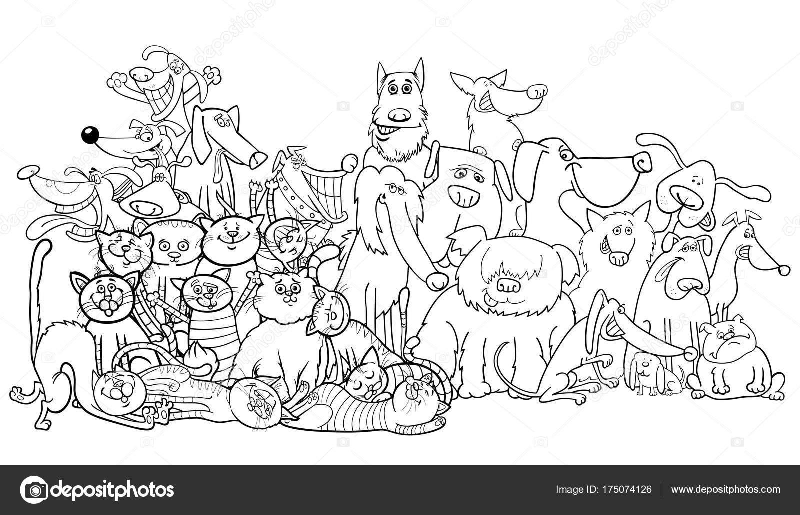 Grupo de gatos y perro de dibujos animados para colorear libro ...