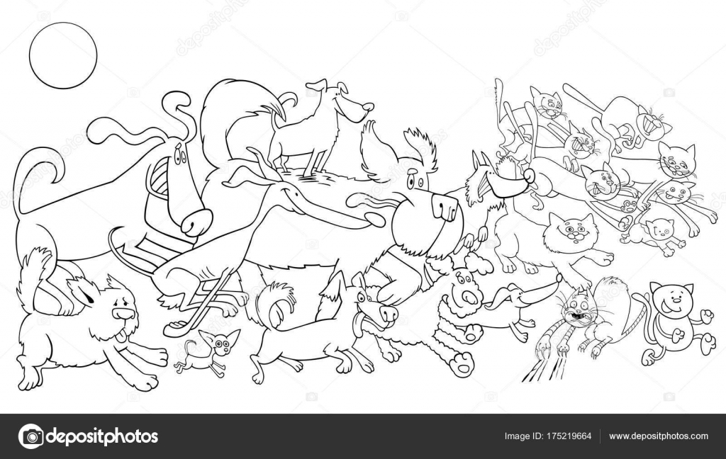libro de color de perro y gatos de dibujos animados — Archivo ...