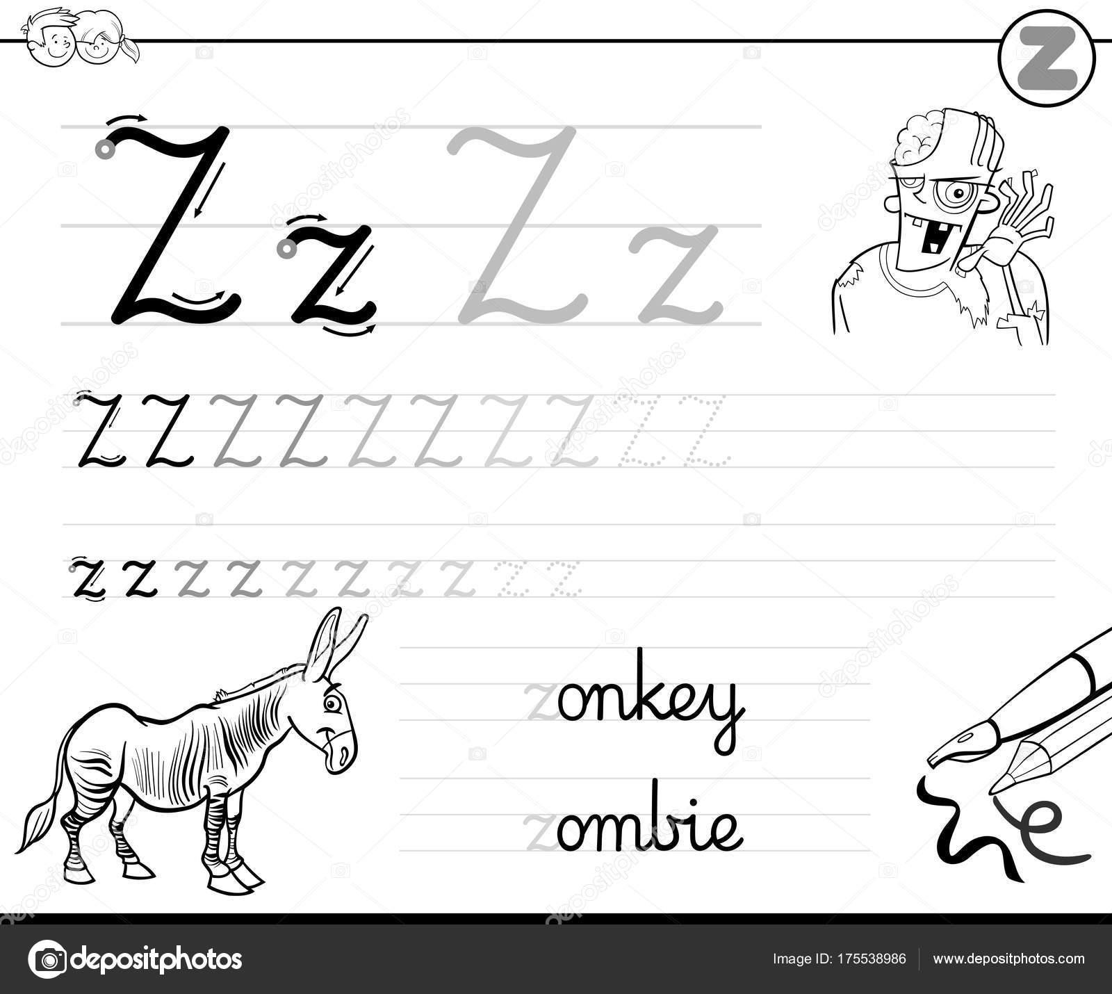 aprender a escribir el libro de la letra Z para niños — Vector de ...