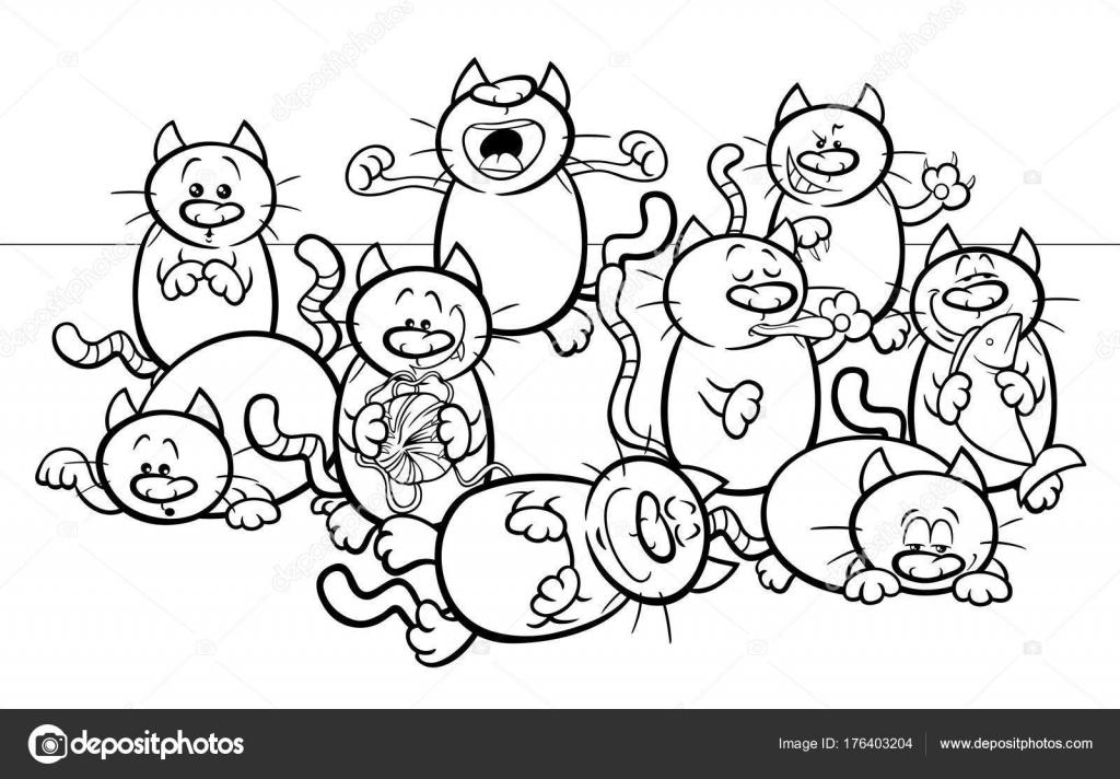 lustige Katzen Cartoon Illustration Farbbuch — Stockvektor ...