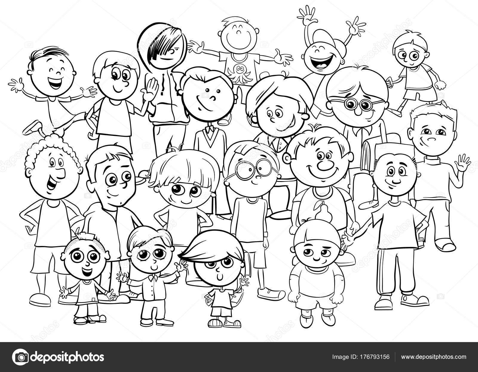 Grupos De Niños Para Colorear: Dibujos: Grupo De Maestros Para Colorear