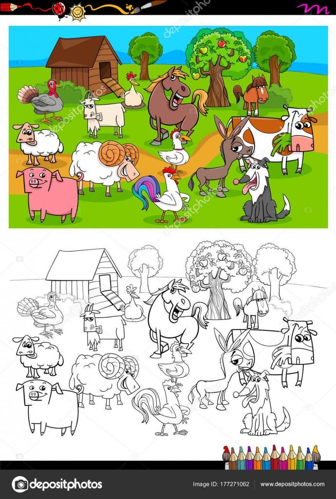 Bauernhof Tiere Zeichen gruppieren Farbbuch — Stockvektor ...