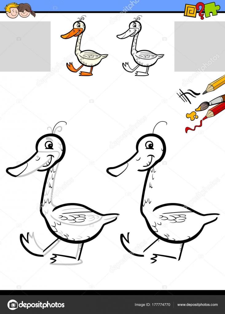 Zeichnung und Färbung Arbeitsblatt mit Gans — Stockvektor ...