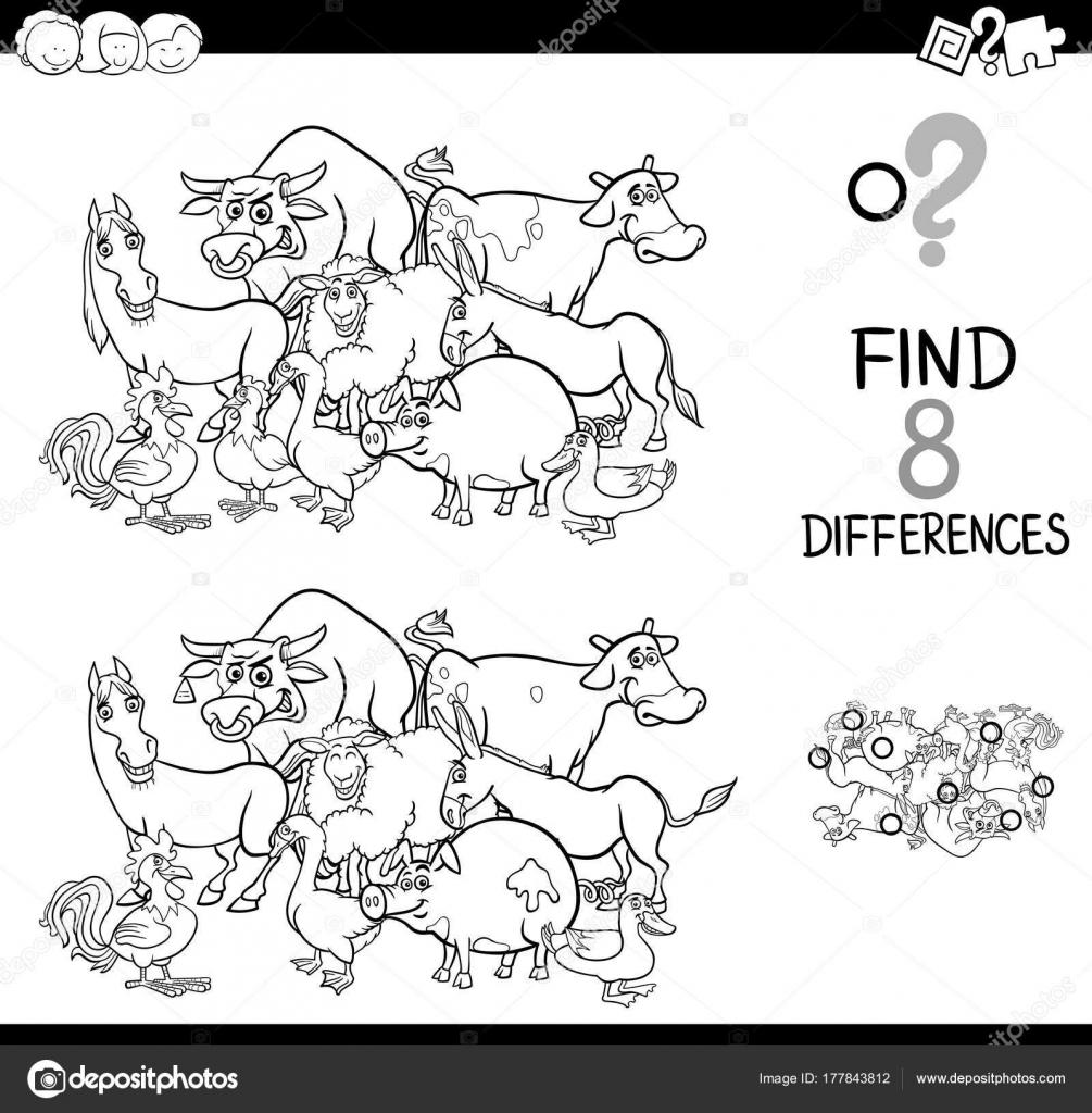 çiftlik Hayvanları Boyama Ile Farklılıklar Oyunu Stok Vektör