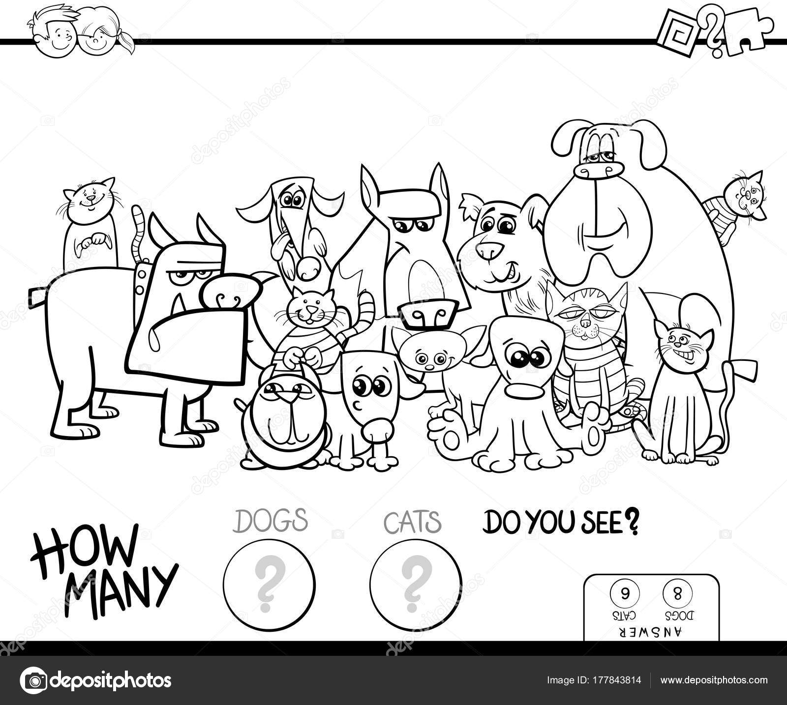 Black And White Cartoon Illustration Of Educational Counting Game For Children With Cats Dogs Domestic Animals Funny Characters Group Coloring Book