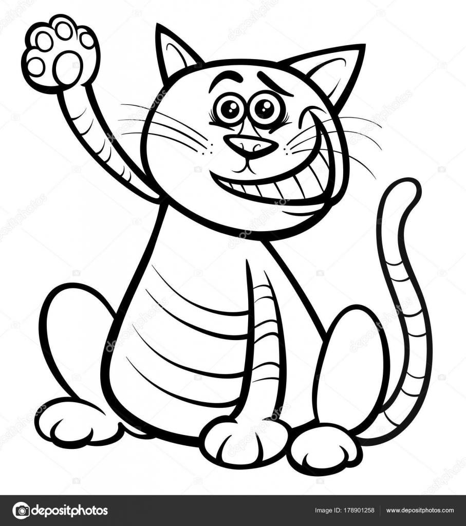 Kedi Ya Da Yavru Kedi Hayvan Karakter Boyama Kitabı Stok Vektör
