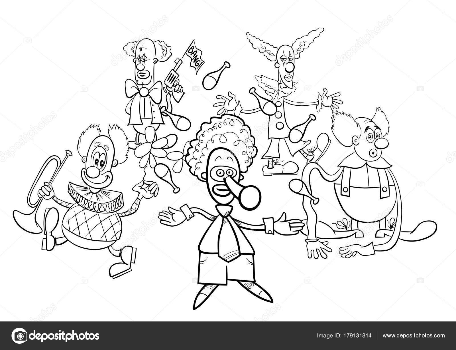 Klauni Kreslene Postavy Skupiny Omalovanky Stock Vektor