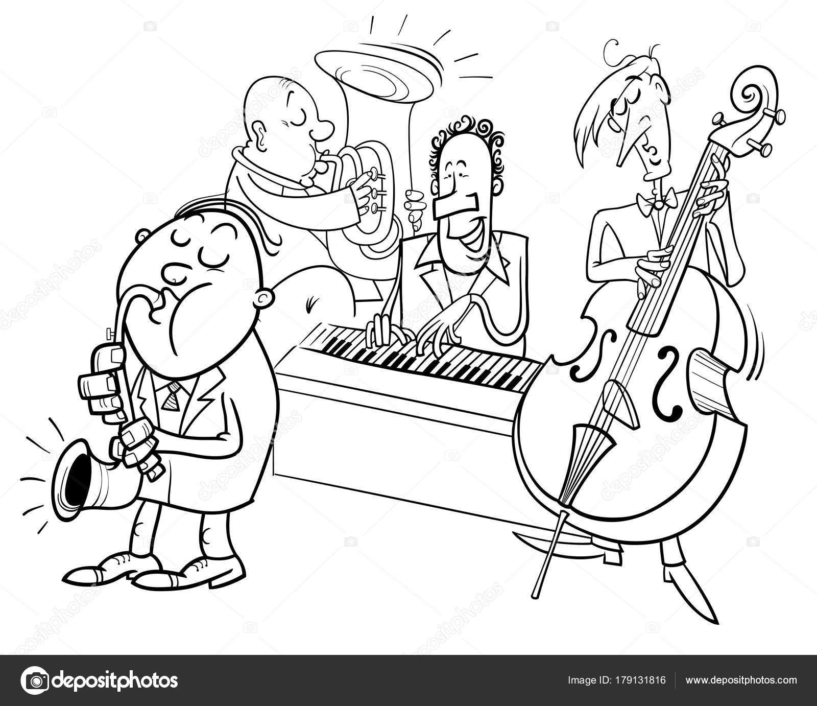 Musiker Figuren spielen Jazz Farbe Buch — Stockvektor © izakowski ...