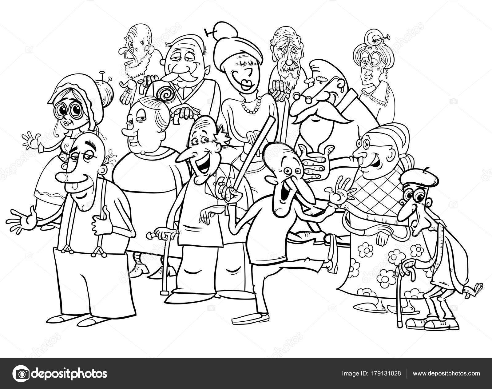 Grupo de altos personajes dibujos animados para colorear libro ...