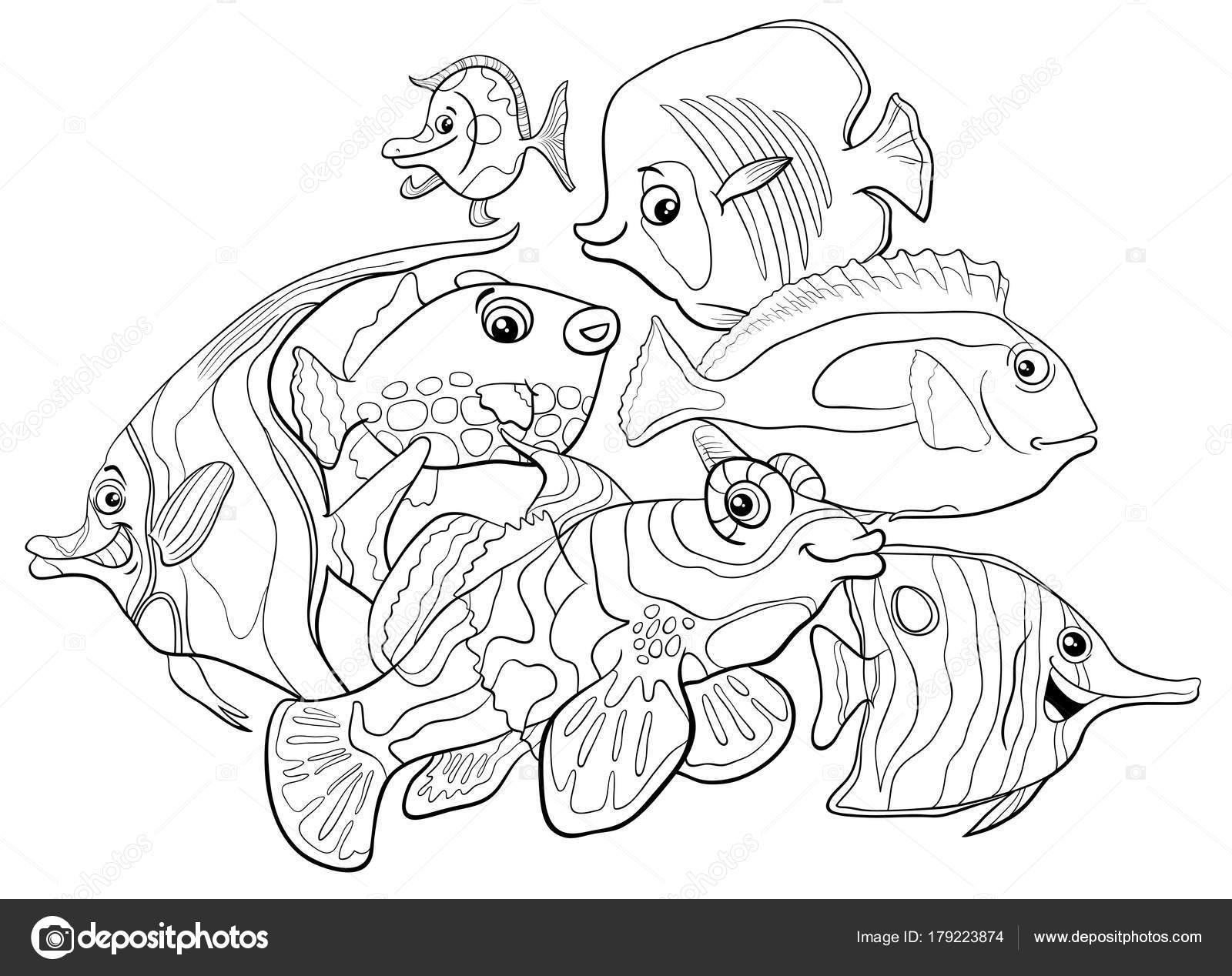 personajes de animales peces tropicales para colorear libro — Vector ...