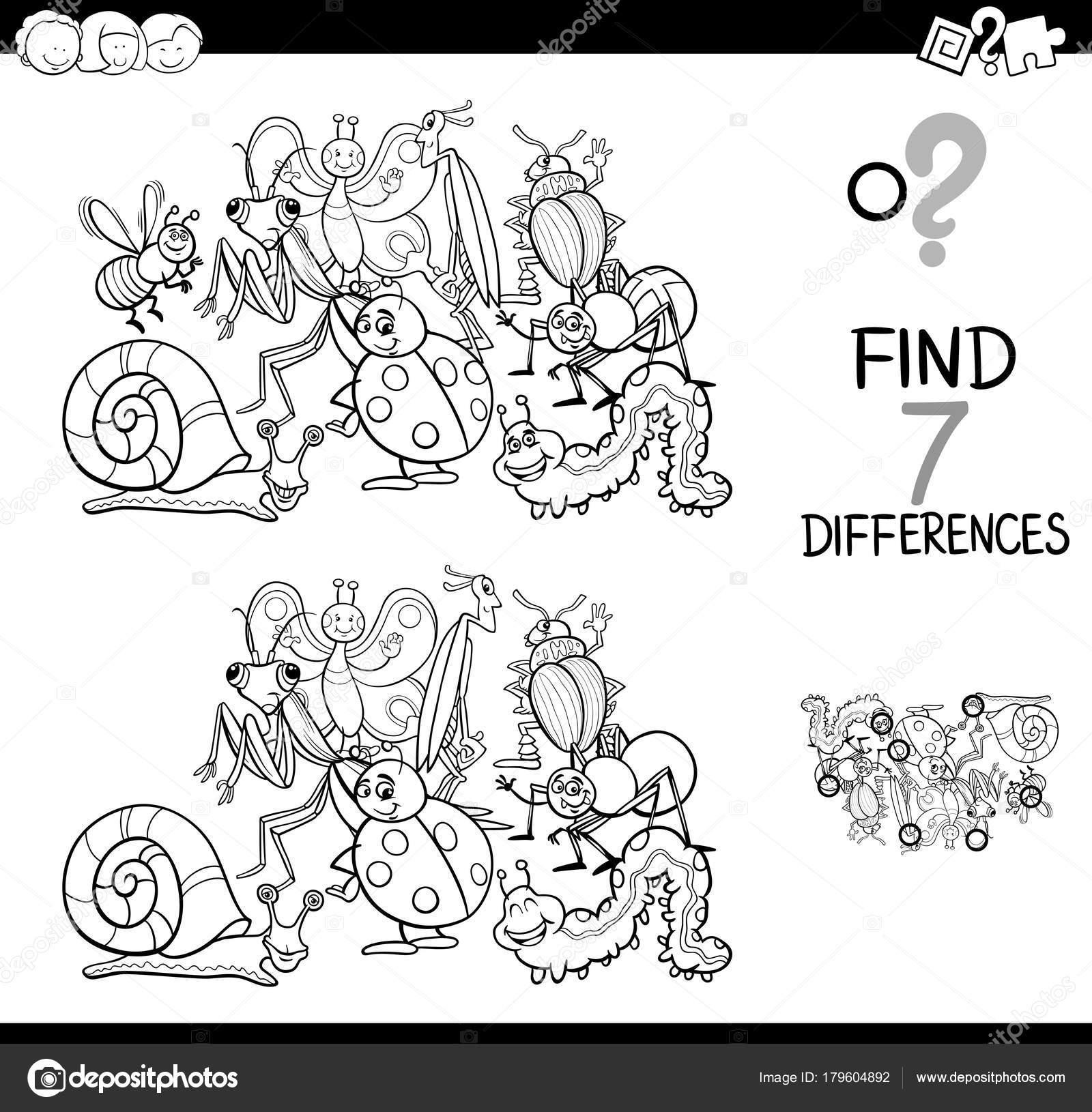 juego de las diferencias con los animales de insectos para colorear ...