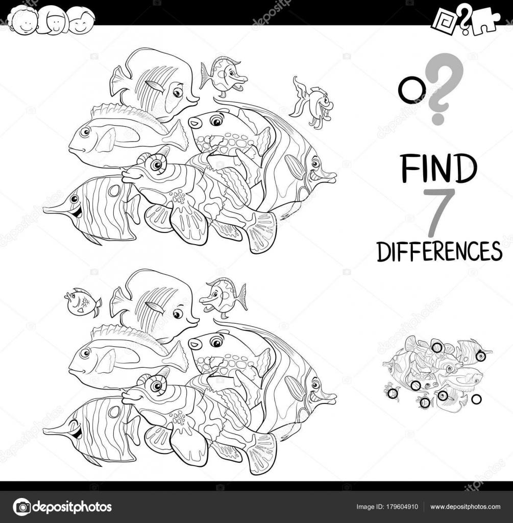 juego de las diferencias con los animales de peces para colorear ...