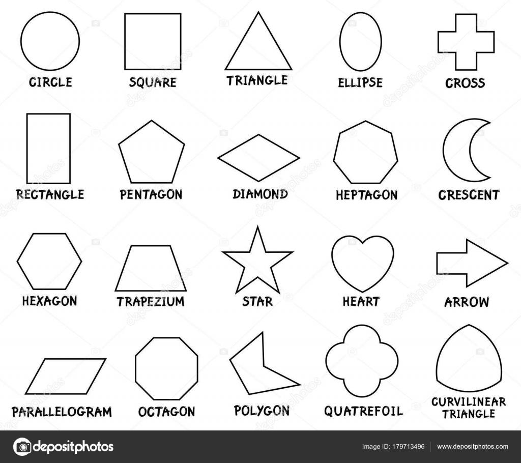 Eğitim Temel Geometrik şekiller Açıklamalı Alt Yazılı Stok Vektör