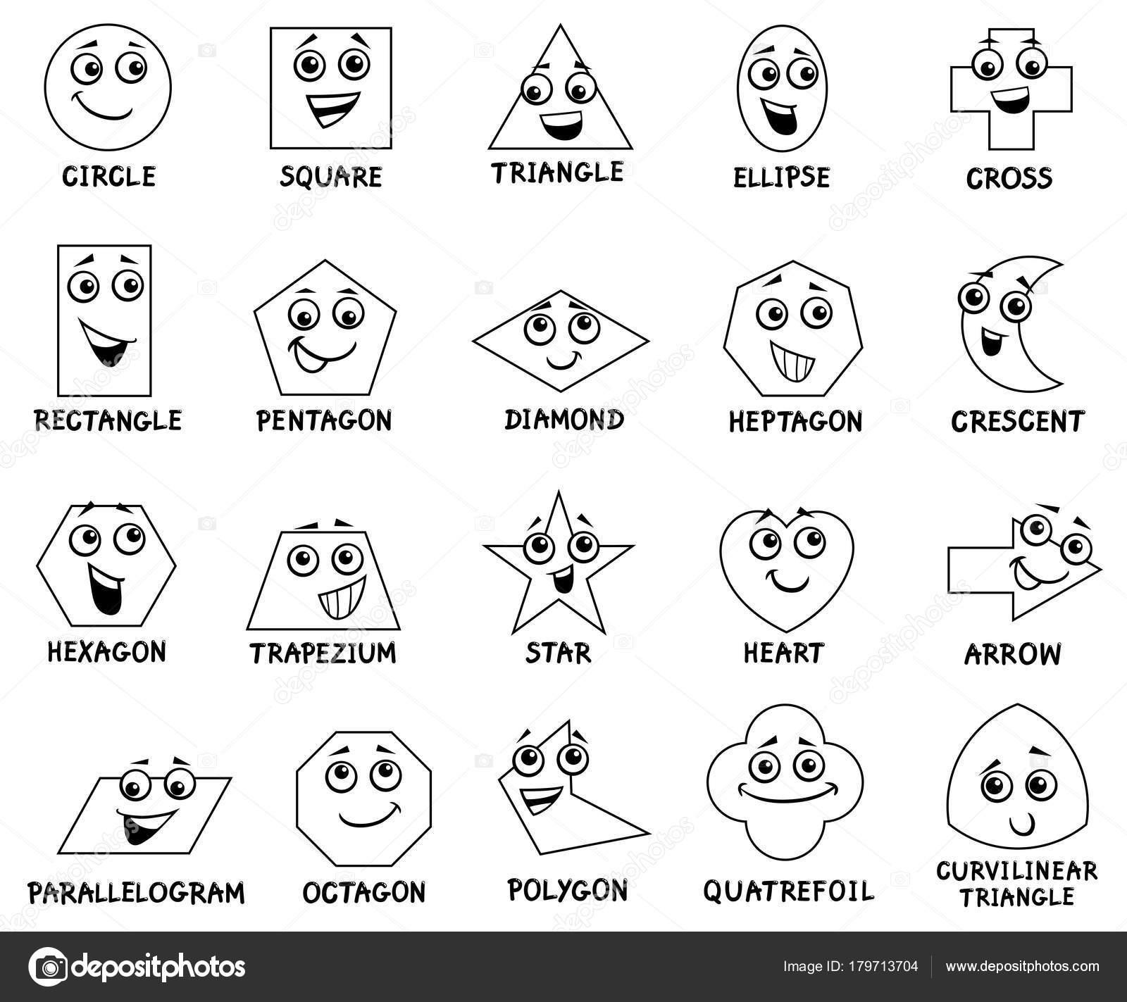 Personajes De Dibujos Animados Figuras Geométricas Básicas