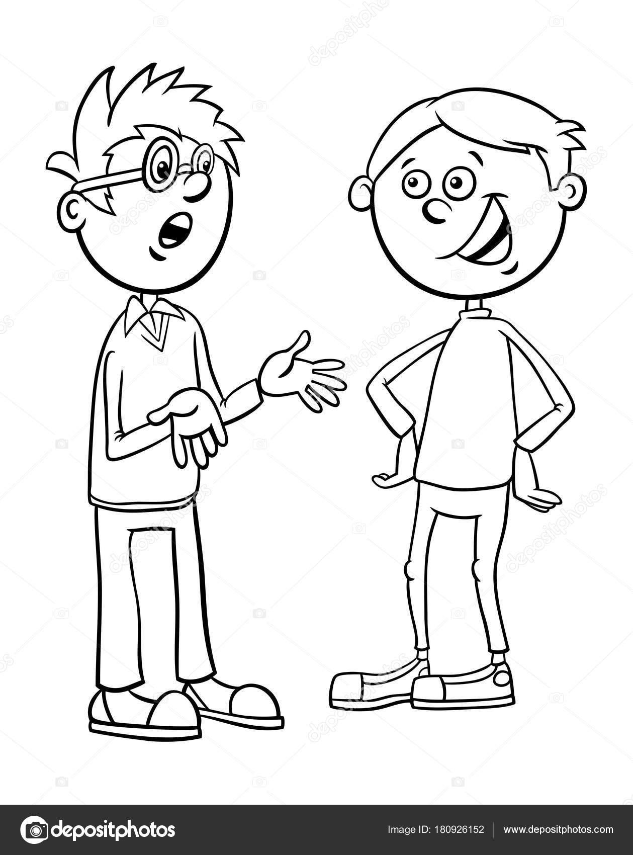 Jongens Kid Tekens Praten Tekenfilm Kleurplaten Pagina Stockvector