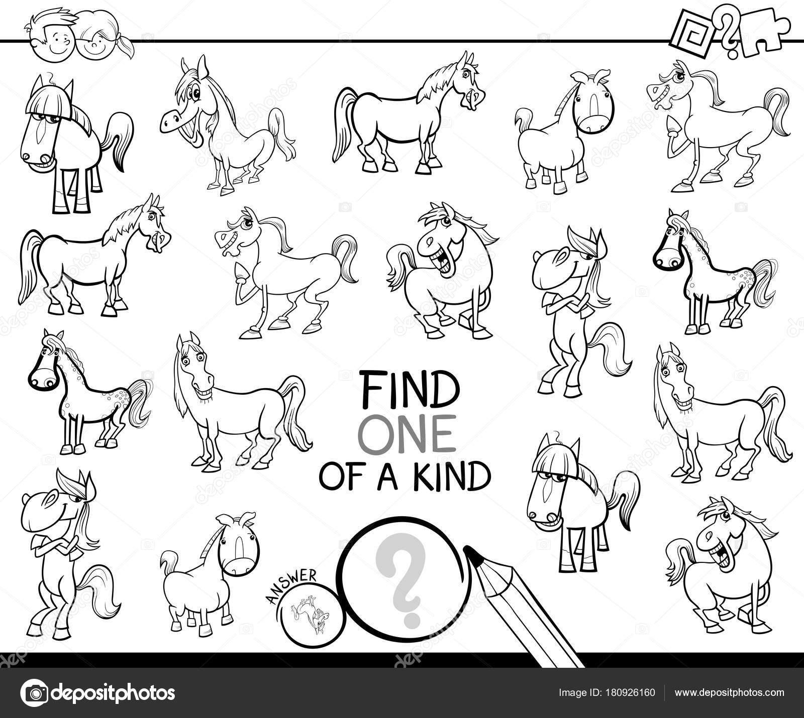 uno de un bueno juego con libro para colorear de caballos — Vector ...