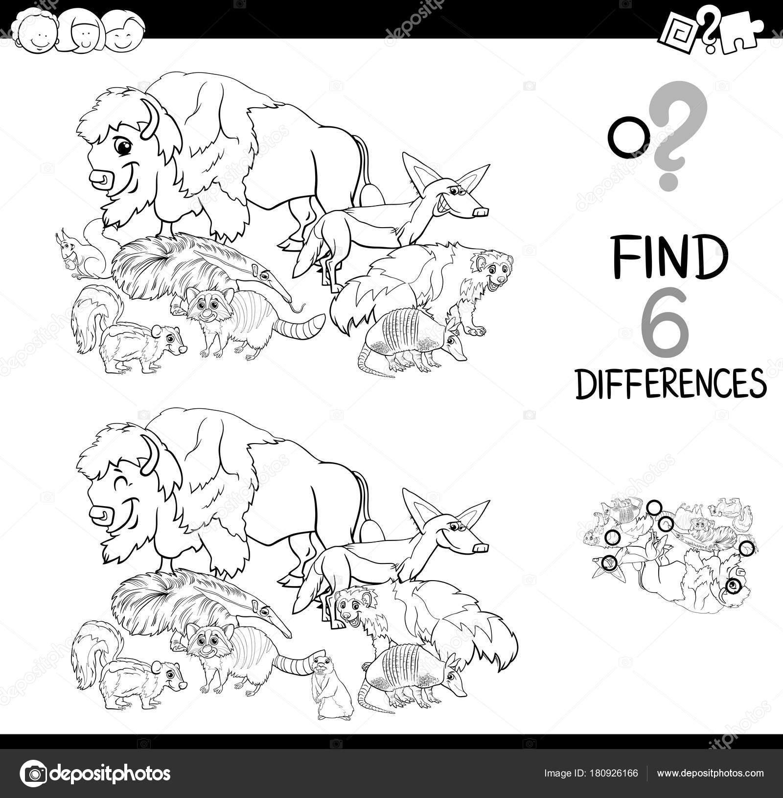 Vahşi Hayvanlar Boyama Ile Farklılıklar Oyunu Stok Vektör