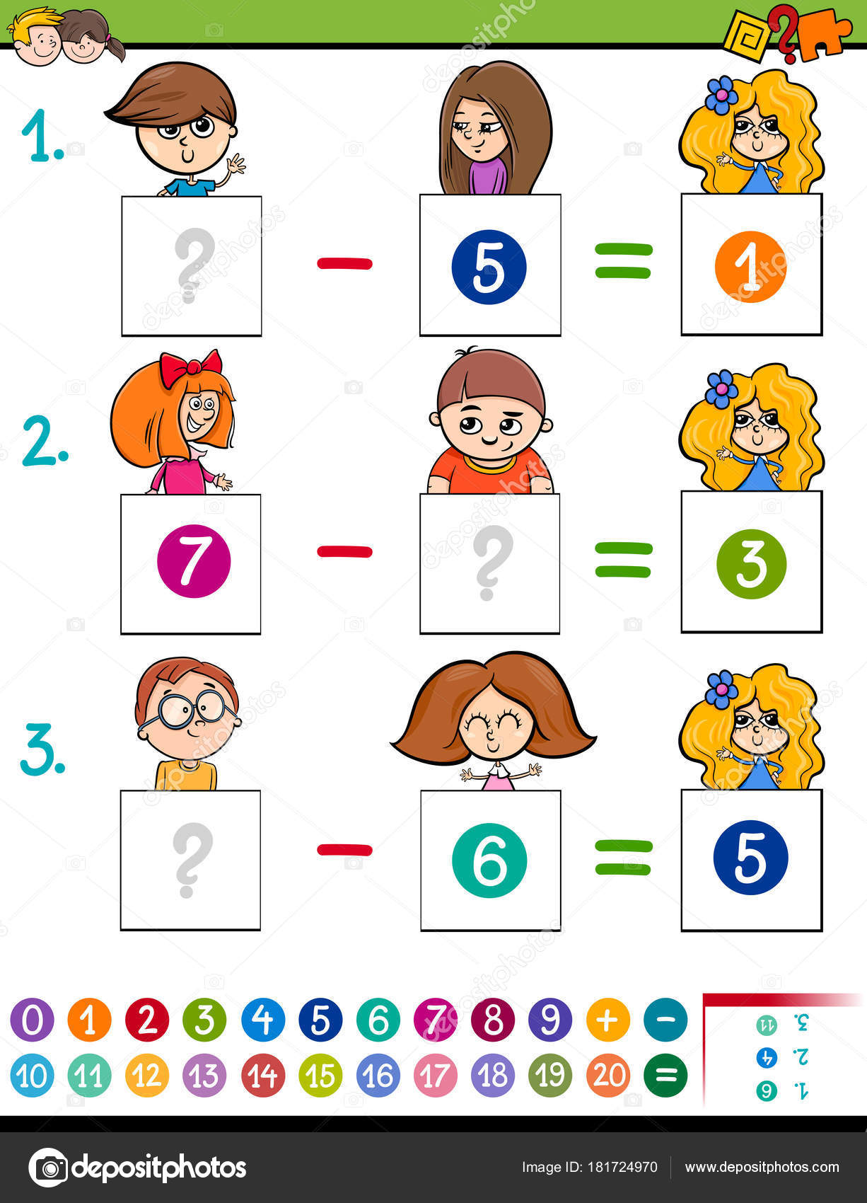 maths subtraction game with kid characters — Stock Vector ...