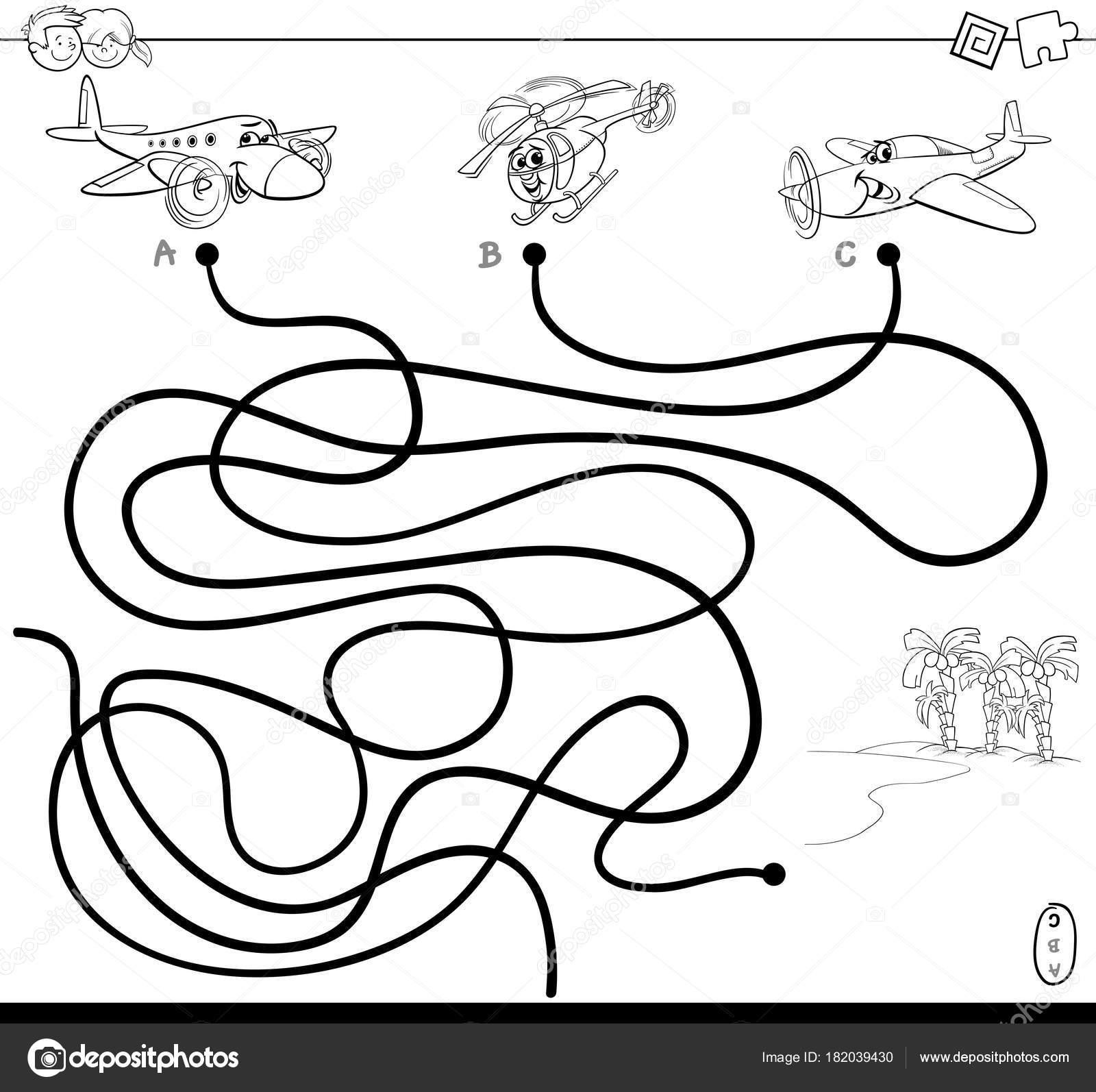 Pfad-Labyrinth mit Flugzeugen Zeichen Farbbuch — Stockvektor ...
