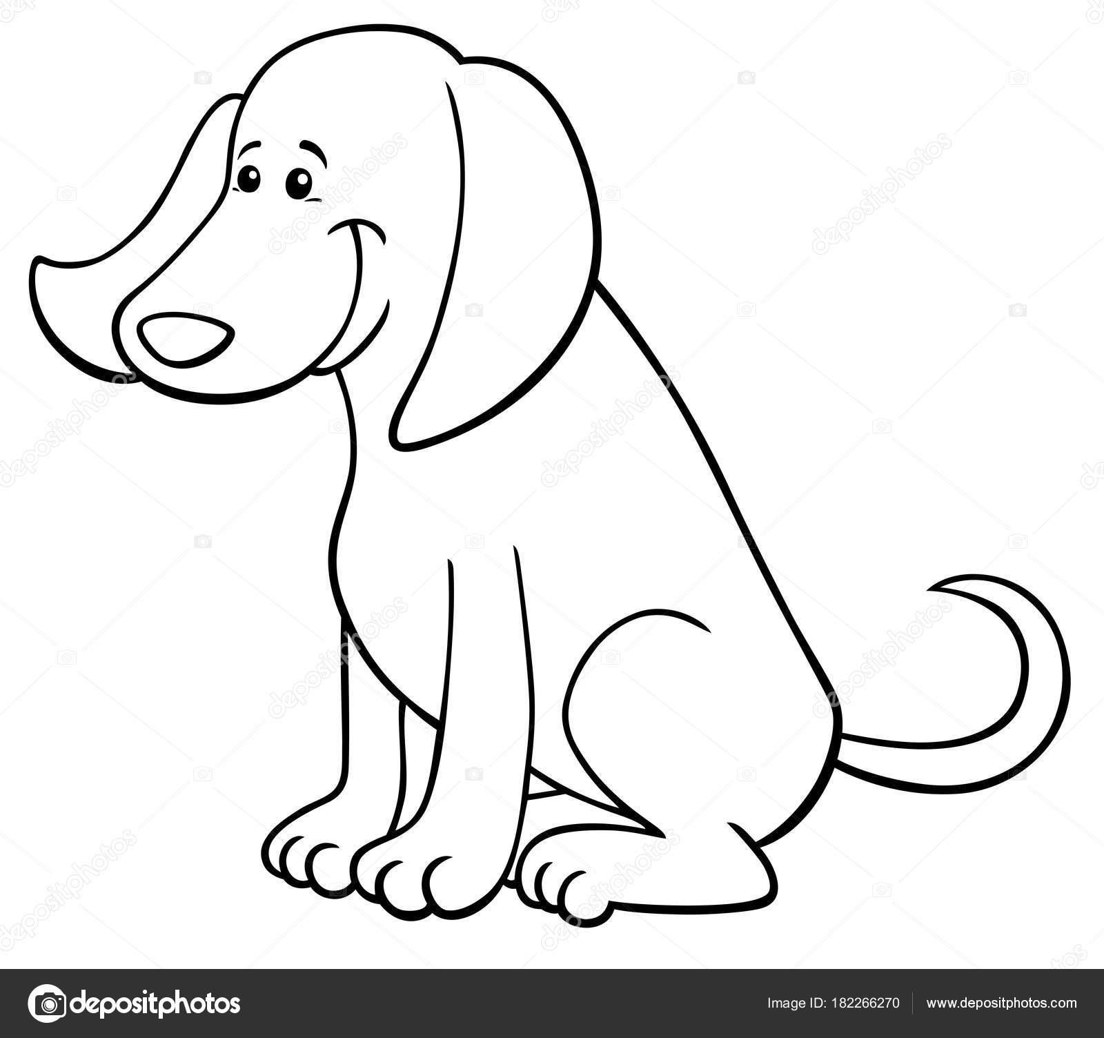 libro de colorear de carácter lindo perro feliz — Vector de stock ...
