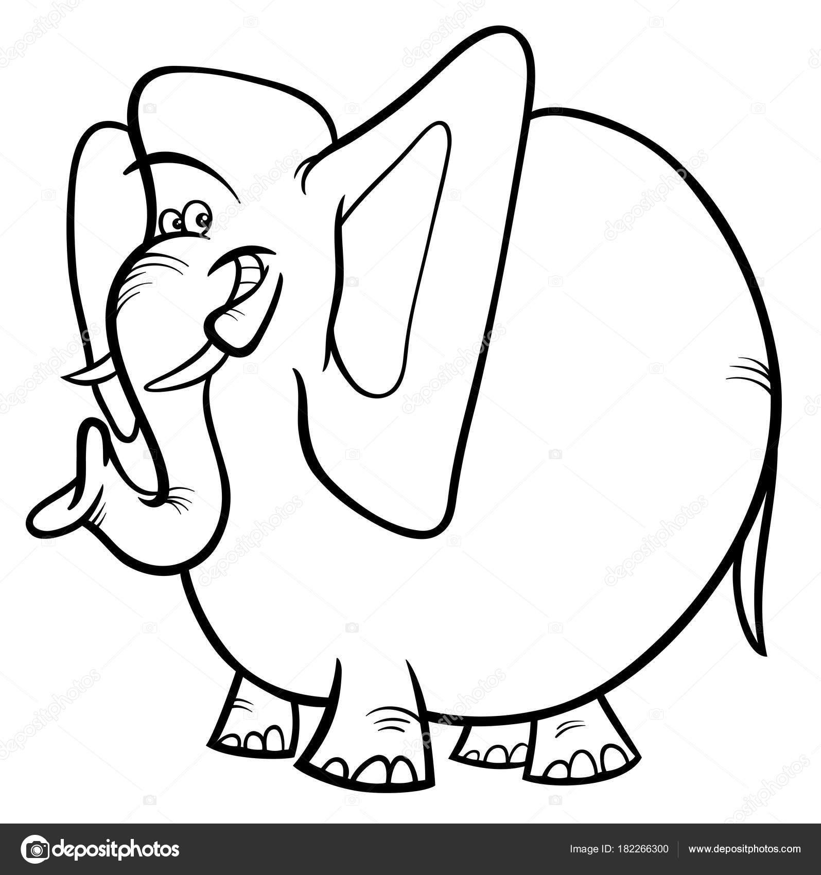 Elefanten Comic Tier Charakter Farbbuch Stockvektor Izakowski
