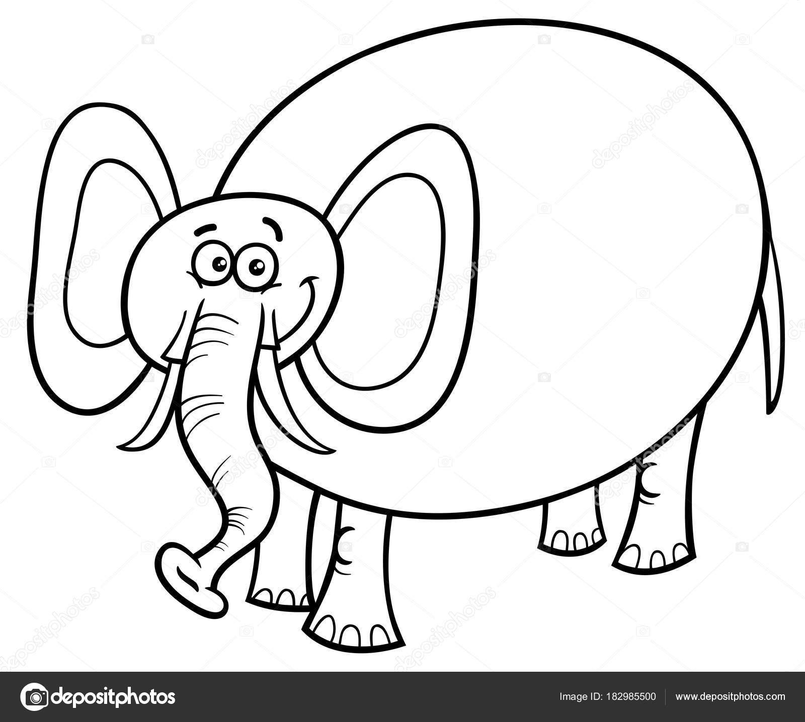 Niedlichen Elefanten Cartoon Charakter Malbuch Stockvektor