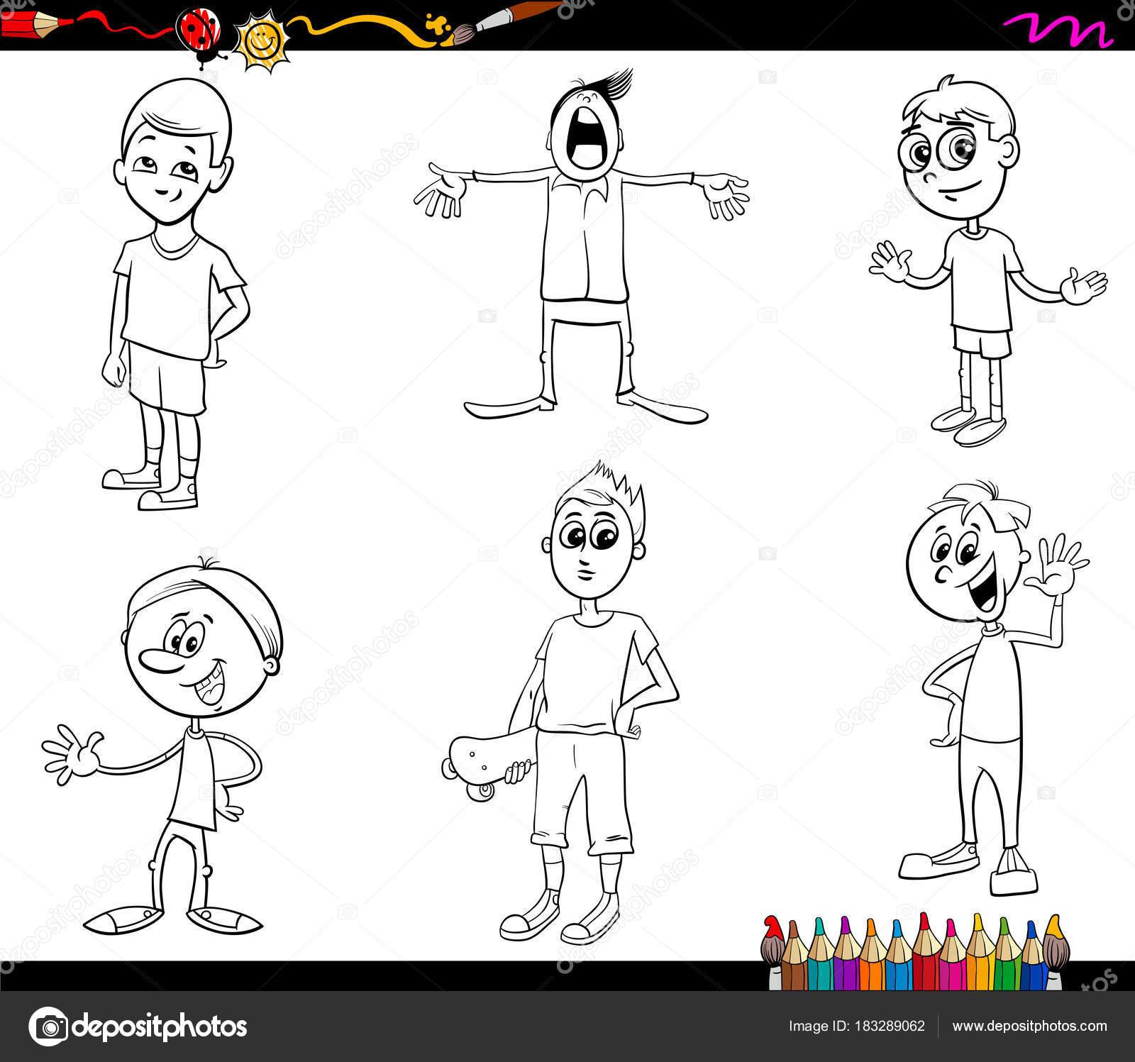 dibujos animados infantil libro para colorear de personajes — Vector ...