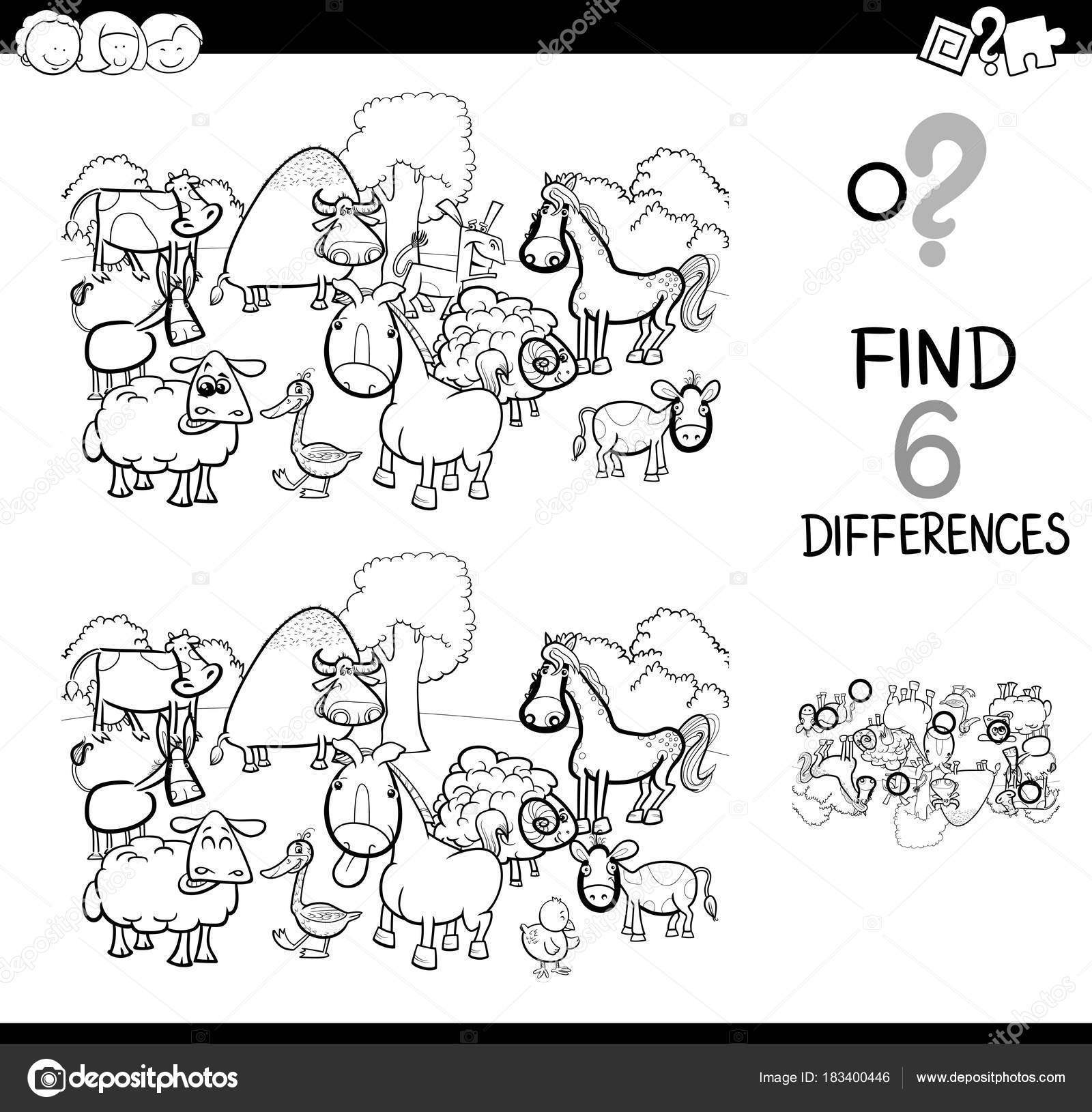 differences game with farm animals coloring book — Stock Vector ...