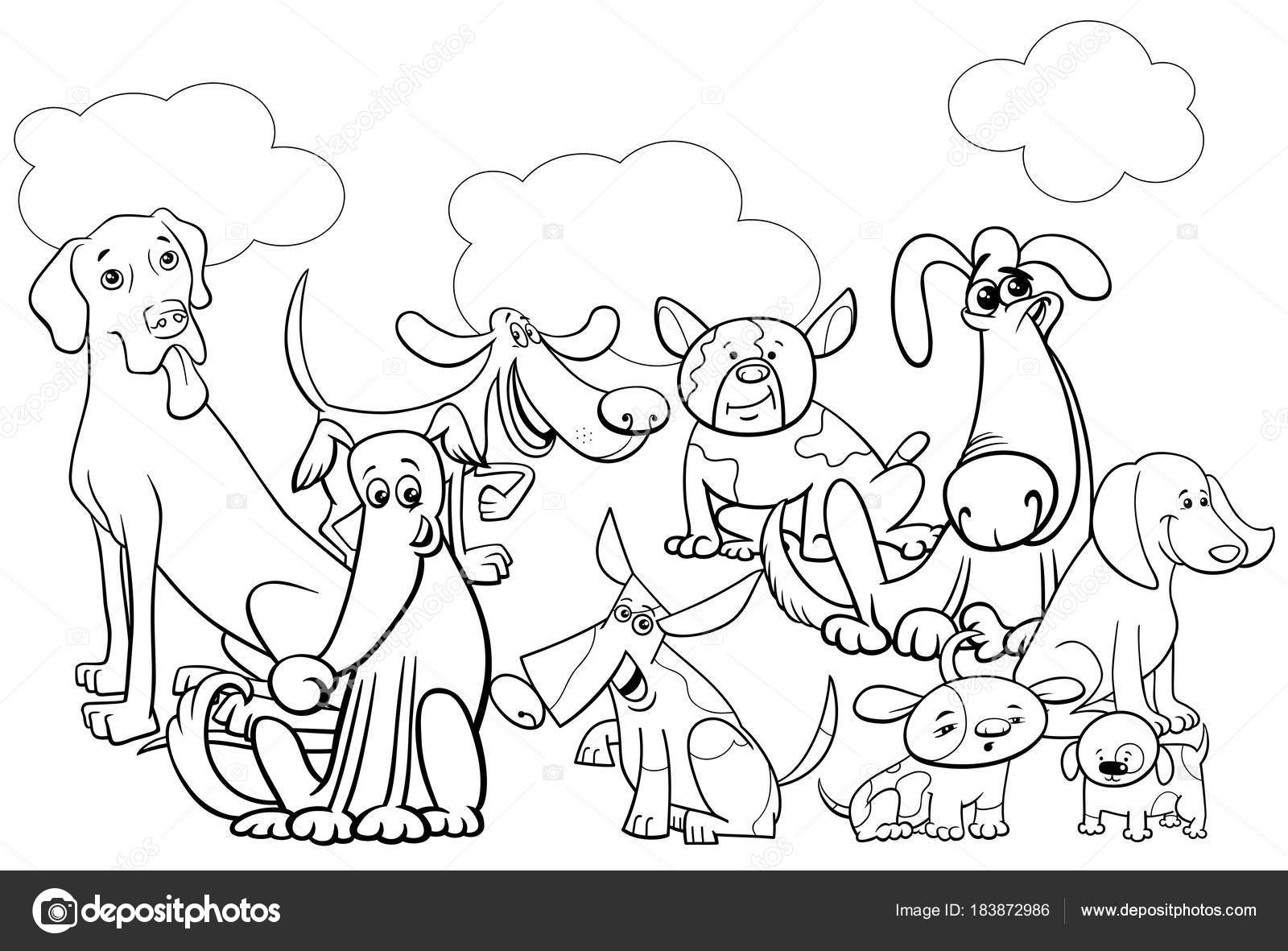 Cartoon Dog Characters Group Coloring Book Stock Vector